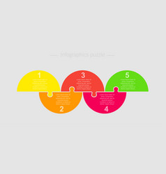 five pieces jigsaw puzzle half circle info graphic vector image