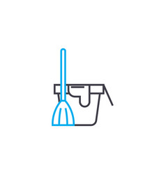 floor cleaning linear icon concept floor cleaning vector image