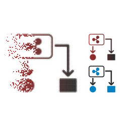 fragmented pixelated halftone ripple cashflow icon vector image