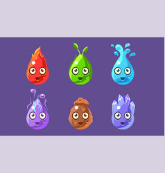 funny glossy shapes characters set cute colorful vector image