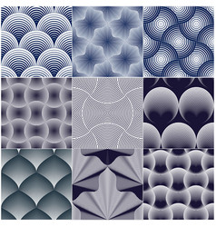 geometric seamless patterns set abstract tiling vector image