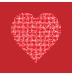Glitter red heart isolated on background vector