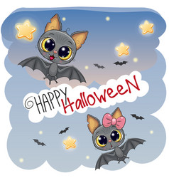 Greeting halloween card with two bats vector