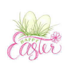 happy easter card with eggs in grass religion vector image