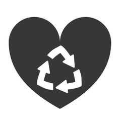 Heart shape with recycling symbol vector
