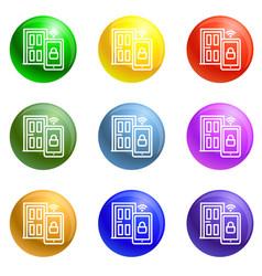 house door icons set vector image