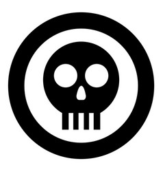 Human skull cranium icon in circle round black vector