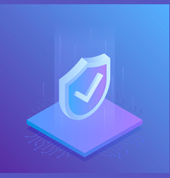 isometric internet security shield vector image