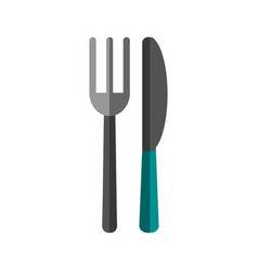 Knife fork cutlery food vector