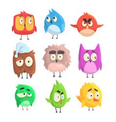little cute bird chicks set cartoon characters vector image
