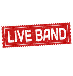 Live band grunge rubber stamp vector