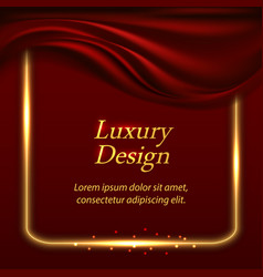Luxury background with red wilk drapery and gold vector