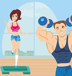 man and woman exercises in the gym vector image