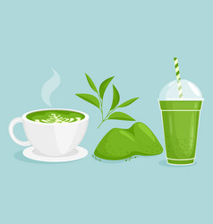 matcha tea set cartoon flat vector image
