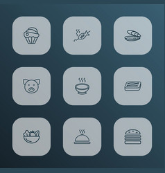 meal icons line style set with cupcake pig vector image