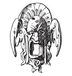 Melting grotesque mask has an escutcheon design vector
