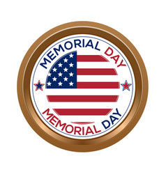 memorial day button isolated on white background vector image