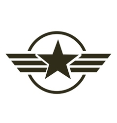 Military star emblem isolated icon vector