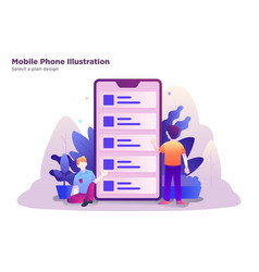 Mobile phone select a plan design vector