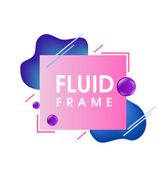 Modern abstract blue fluid frame vector