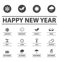New year and weather icons vector