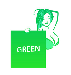 Nude girl in sweemsuit holding green banner vector