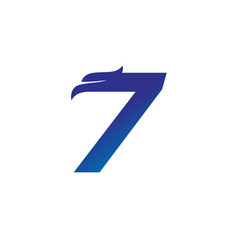 number 7 with eagle head logo design vector image