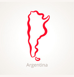 Outline map of argentina marked with red line vector