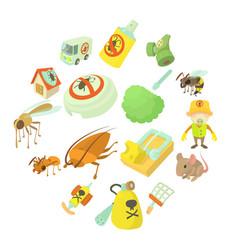 Pest control terminate icons set cartoon style vector