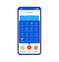 Photo editor smartphone interface template vector