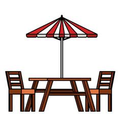 Picnic table with umbrella vector