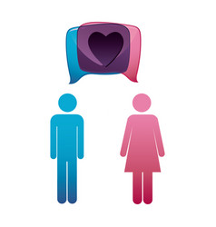 pictogram male and female with square dialog box vector image