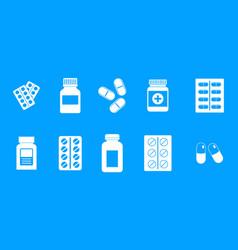 pills icon blue set vector image