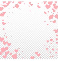 Pink heart love confettis valentines day vignett vector