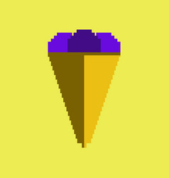 Pixel icon in flat style ice cream cone vector
