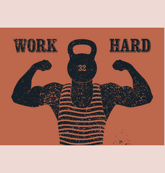 retro gym vintage grunge poster with strong man vector image
