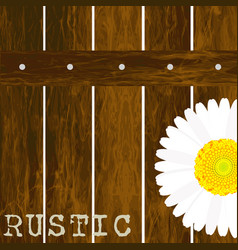 Rustic background with fence and daisy vector