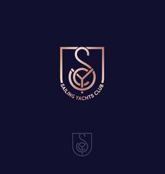 s y c monogram sailing yachts club gold shield vector image