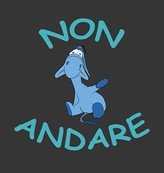 Sad donkey waving hand with Italian text vector image