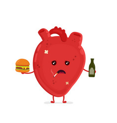 sad unhealthy sick heart with bottle vector image