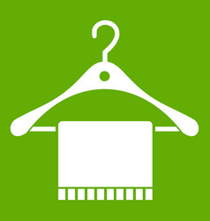 Scarf on coat hanger icon green vector