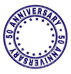 Scratched textured 50 anniversary round stamp seal vector