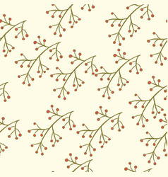 seamless berry branch pattern vector image