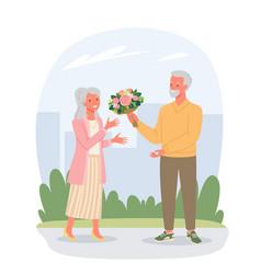 senior people on date in valentines day elderly vector image