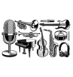 Set black and white musical instruments vector