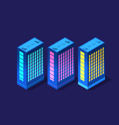 set isometric modern buildings night business vector image
