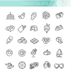 Set line icons in flat design chocolate vector