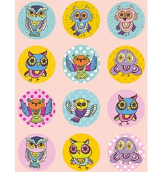 Set of funny owl sketch doodle Seamless pattern on vector