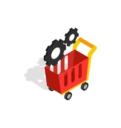 Settings basket in online store icon vector