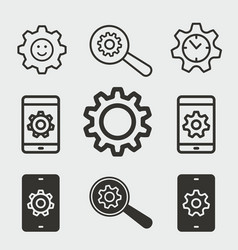 settings icons set vector image